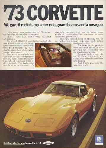 GM Advertisement for the 1973 Chevy Corvette