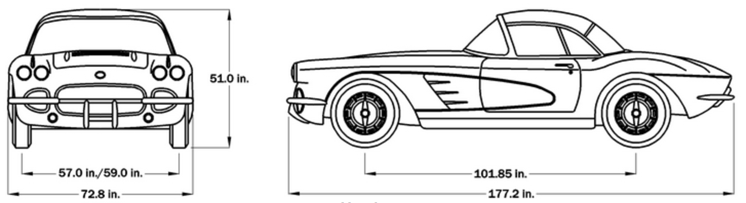 1958 C1 Corvette Car Dimensions - Hardtop