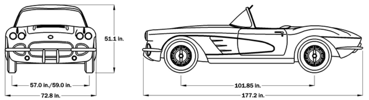 1958 C1 Corvette Car Dimensions - Softtop