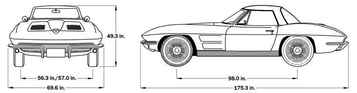 1963 Corvette Dimensions - Hard Top
