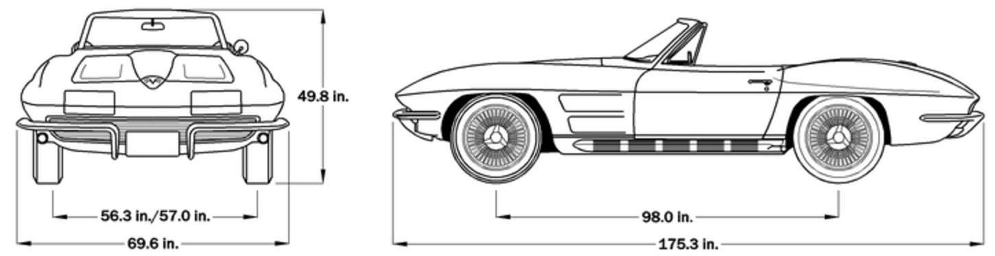 1964 Corvette Dimensions - Softtop