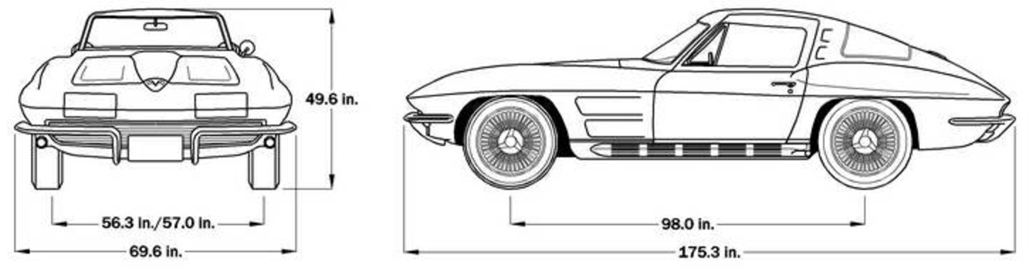 1964 Corvette Dimensions - Coupe