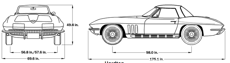 1966 Corvette Dimensions - Hard Top