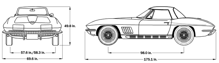 1967 Corvette Dimensions - Hard Top