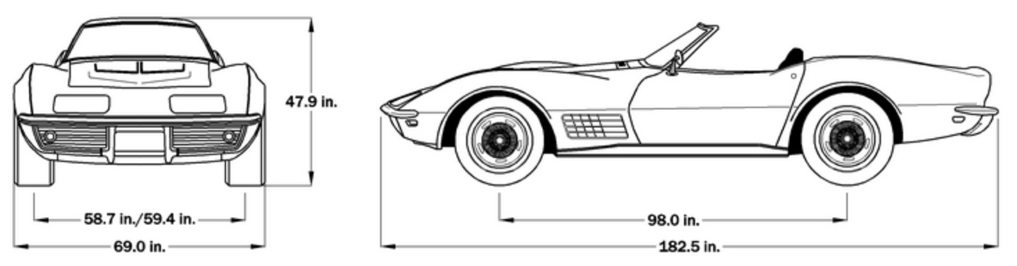 1970 Corvette Dimensions - Soft Top