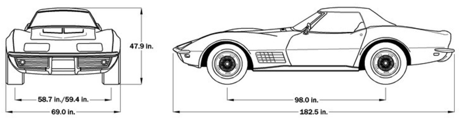 1972 Corvette Dimensions - Hard Top