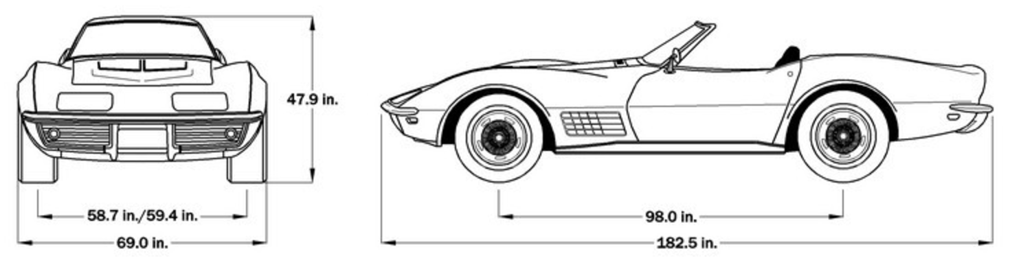 1972 Corvette Dimensions - Soft Top