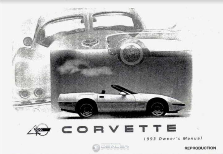 1993 Corvette Owners User Manual