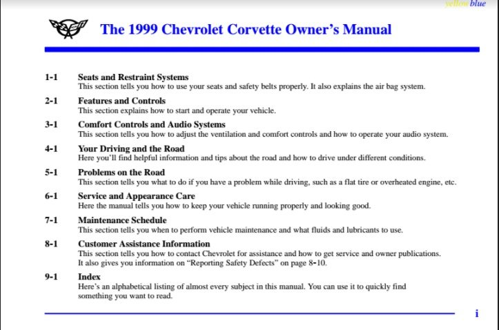 1999 Corvette Owners User Manual