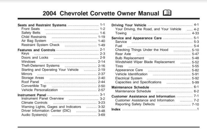 2004 Corvette Owners User Manual