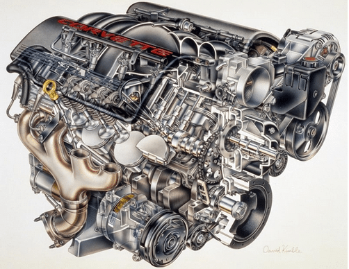 """Exploded"" view of the 1997 C5 Corvette's LS1 Small Block V-8 Engine."