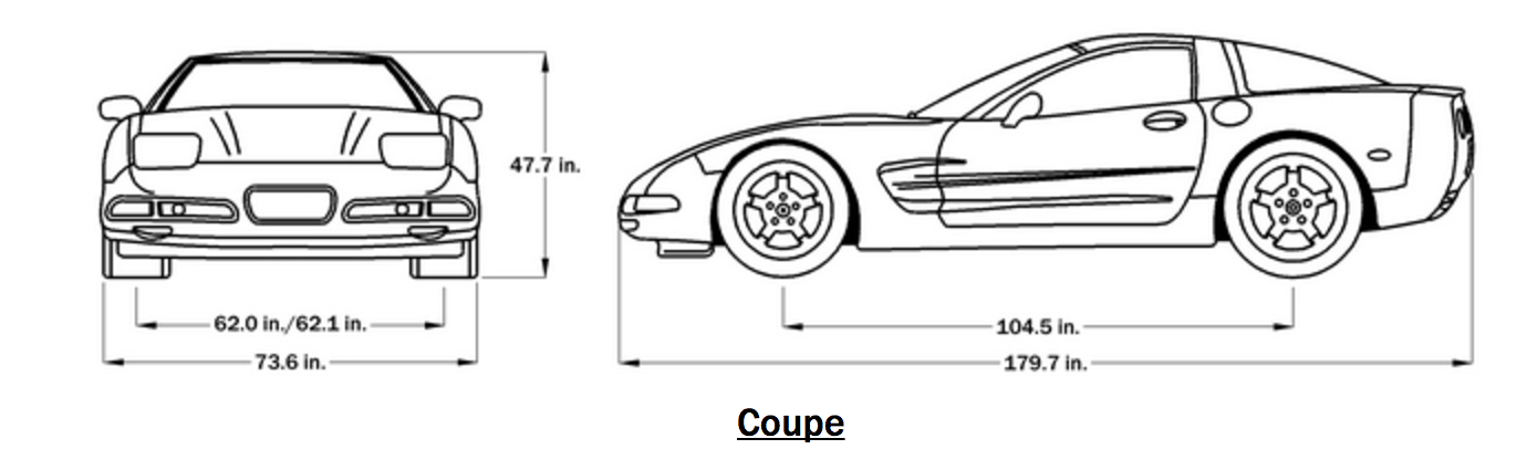 1998 Corvette Coupe Dimensions