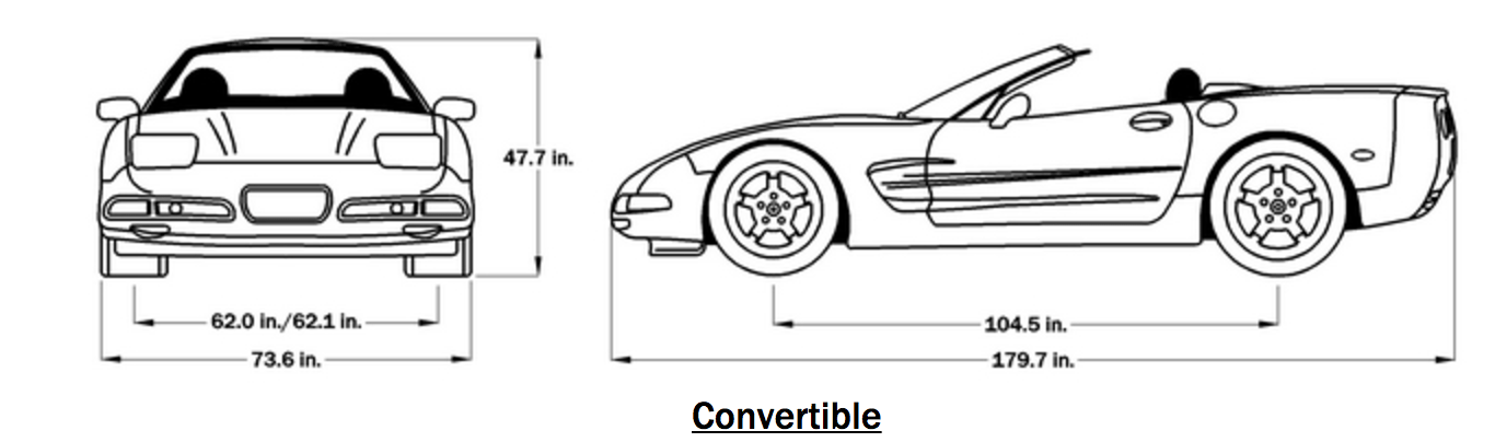 1998 Corvette Convertible Dimensions