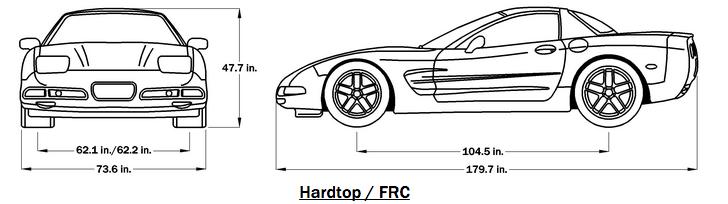 2000 Corvette Dimensions - Hardtop