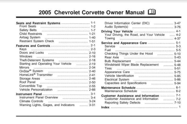 2005 Corvette Owners User Manual