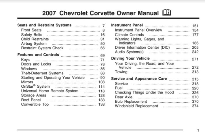 2007 Corvette Owners User Manual