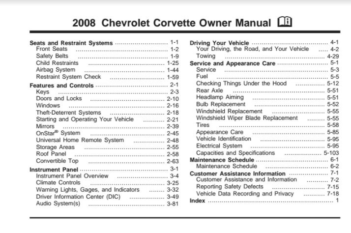 2008 Corvette Owners User Manual