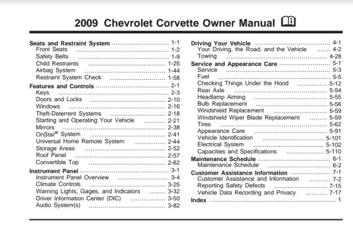 2009 Corvette Owners User Manual