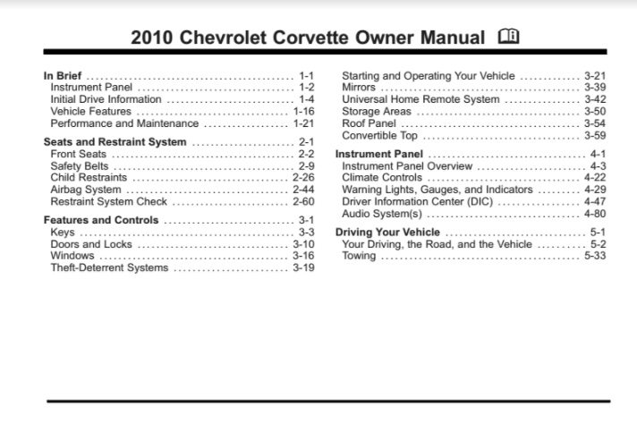 2010 Corvette Owners User Manual