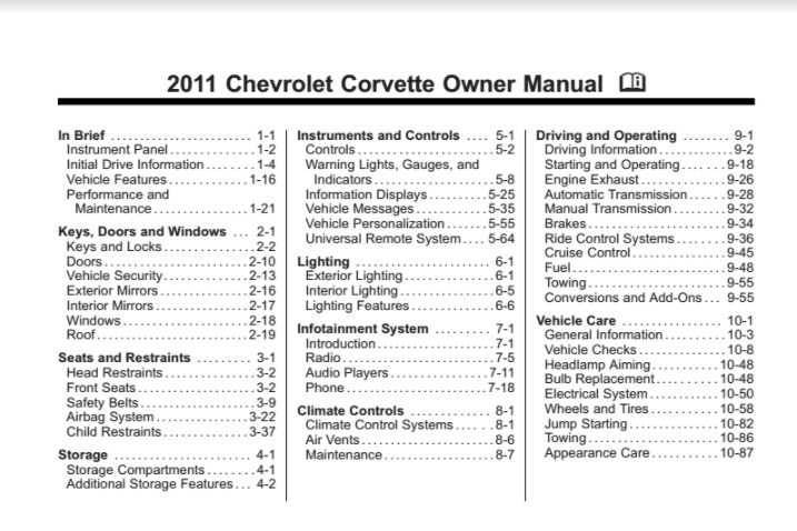 2011 Corvette Owners User Manual