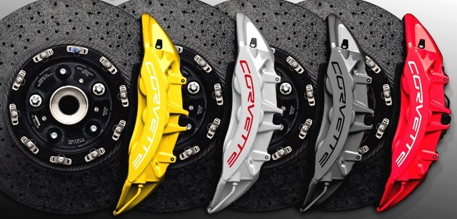 2012 Corvettes included optional brake caliper color choices including yellow, silver, gray or red.