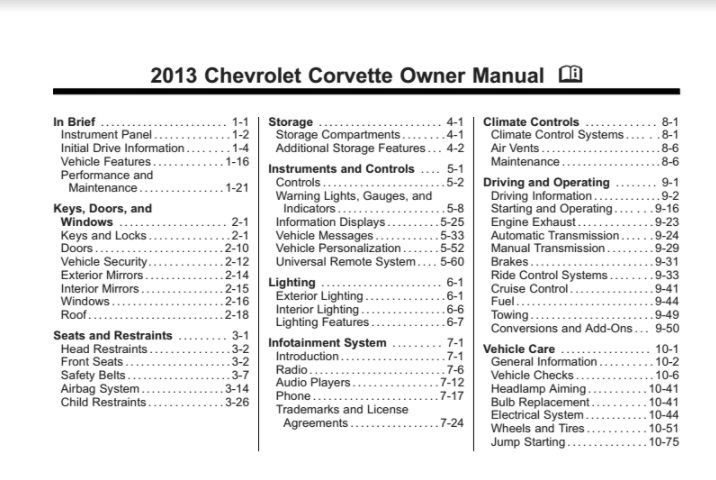 2013 Corvette Owners User Manual