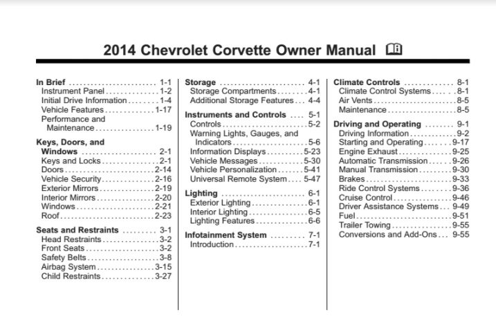 2014 Corvette Owners User Manual