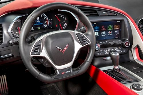Interior and Steering Wheel of 2015 Red Z06 Corvette