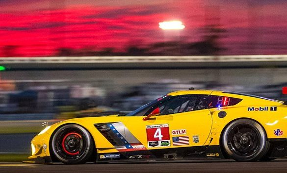 The No. 4 C7.R Corvette Race Car at Sunset in Daytona Beach, Florida
