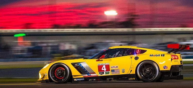 The No. 4 C7.R Corvette Race Car at Sunset in Daytona Beach, Florida