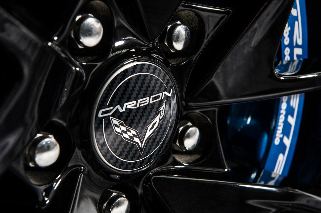 The 2018 Carbon 65 Edition Corvette features black, machined wheels with blue calipers.