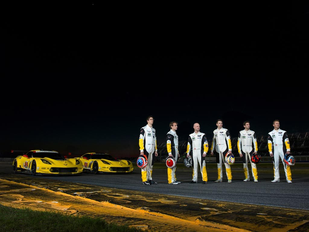 The Corvette Racing Team (from left to right): Jordan Taylor, Antonio Garcia, Jan Magnussen, Tommy Milner, Oliver Gavin, Marcel Fassler.