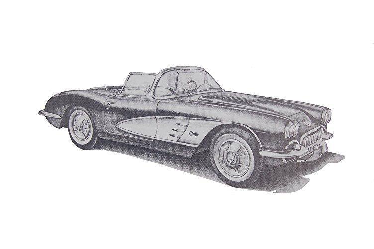 Best Corvette Artworks For Your Man Cave - 1950s Chevrolet Corvette Pencil Drawing