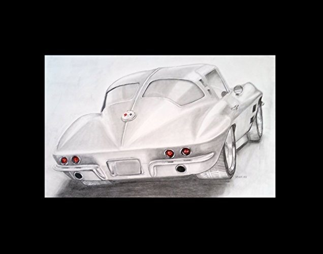 Best Corvette Artworks For Your Man Cave - 1963 Corvette Sting Ray Rear Split Window Original Drawing