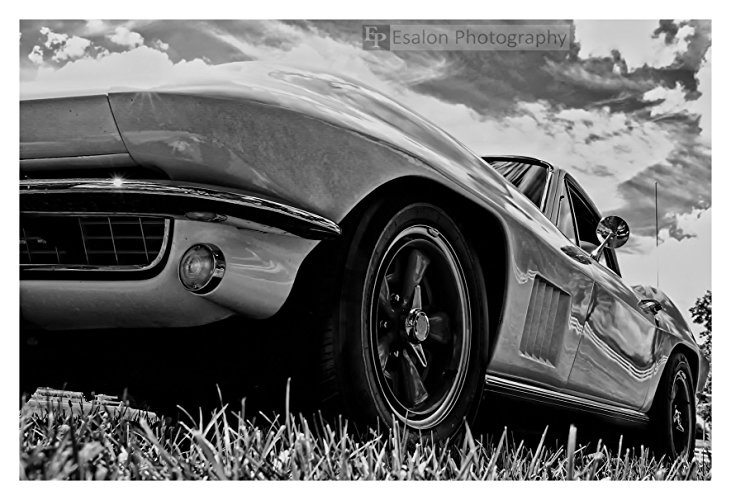 Best Corvette Artworks For Your Man Cave - 1965 Chevy Chevrolet Corvette Car Black and White Print
