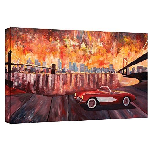 Best Corvette Artworks For Your Man Cave - Art Wall 'New York City-Two Bridges with a Corvette'