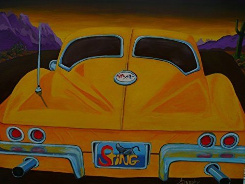 Best Corvette Artworks For Your Man Cave - Corvette on a Dark Desert Highway