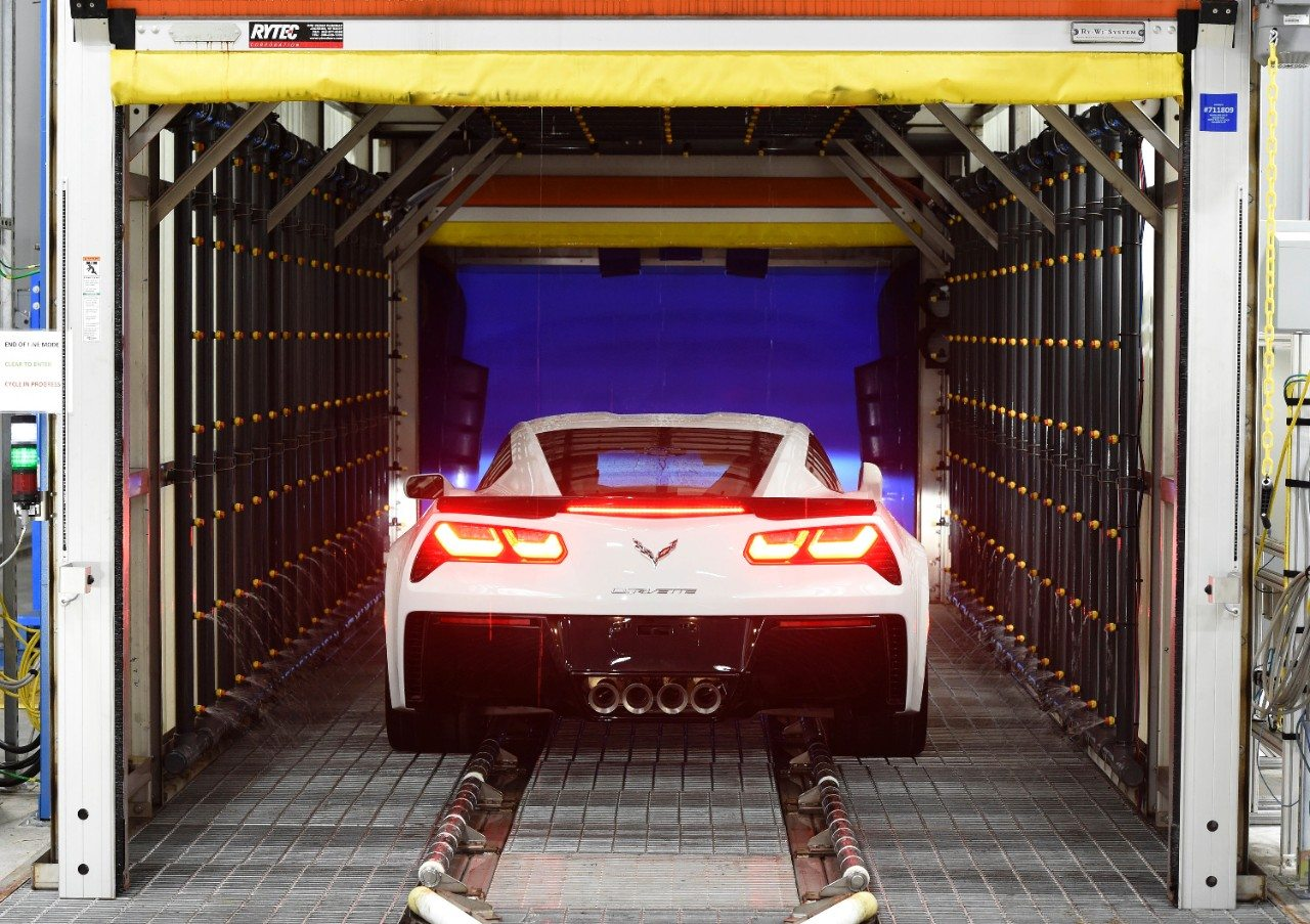 As part of the manufacturing process, each Corvette is put through a number of rigorous tests - including exposure to high heat and cold, high-pressure water, and a squeek/bump test.