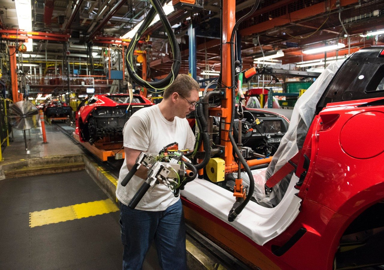 The 2017 Corvette Stingray being assembled at the Corvette Assembly Plant in Bowling Green, Kentucky.