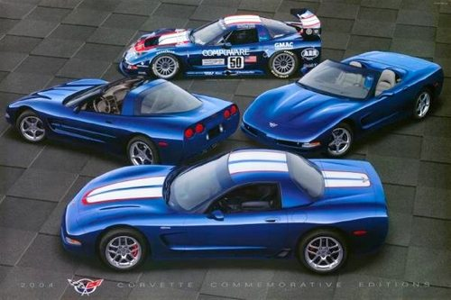 The 2004 Le Mans Blue Chevrolet Corvettes - Coupe, Z06, Convertible and C5-R Racecar