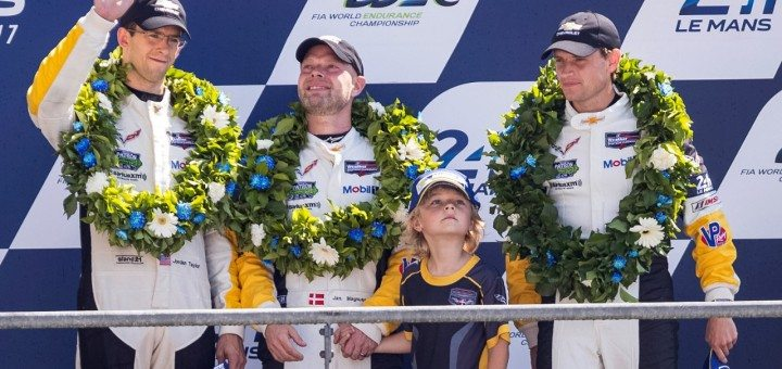 Jordan Taylor, Jan Magnussen and Antonio Garcia on the podium after taking 3rd Place it the GTE Pro Class at the 2017 24 Hours of Le Mans.