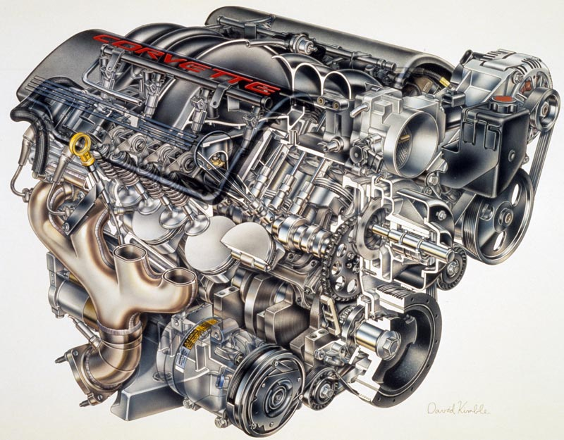 Exploded view of the 1997 Corvette LS1 Engine