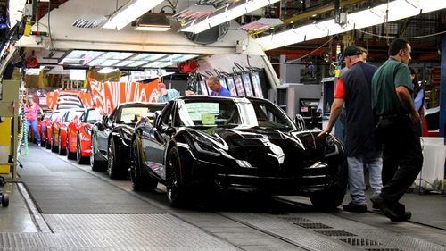 C7 Corvette Stingrays roll off the assembly line at the Chevrolet Plant in Bowling Green, Kentucky.