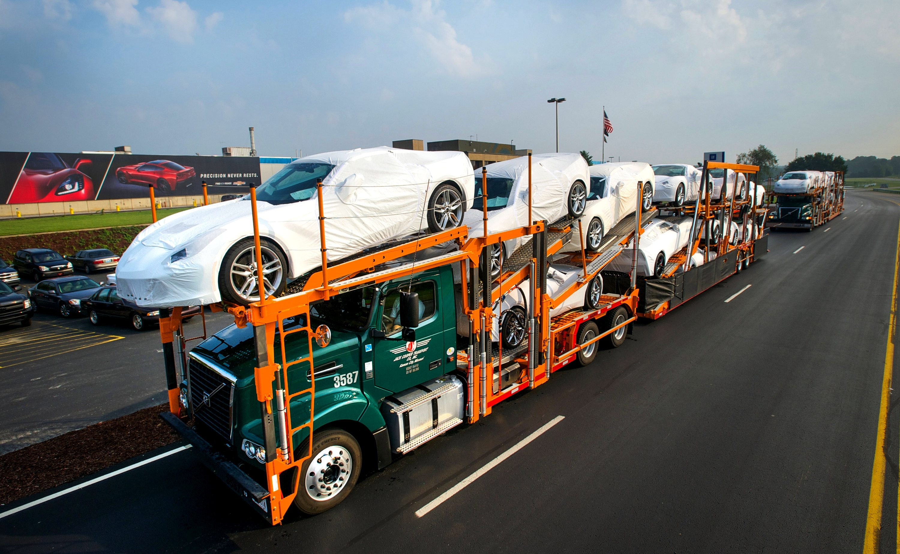Corvettes leaving the manufacturing plant in Bowling Green, Kentucky.
