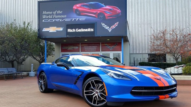 A C7 Corvette Parked In Front Of The Bowling Green Manufacturing Plant