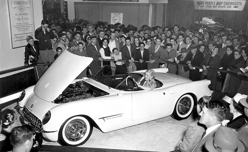 White 1953 Chevy Corvette C1 at the 1953 Motorama