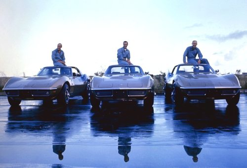 Apollo 12 astronauts (L-R) Charles 'Pete' Conrad Jr., Richard Francis Gordon Jr., and Alan LaVern Bean with their identical 1969 Corvette Stingray coupes.