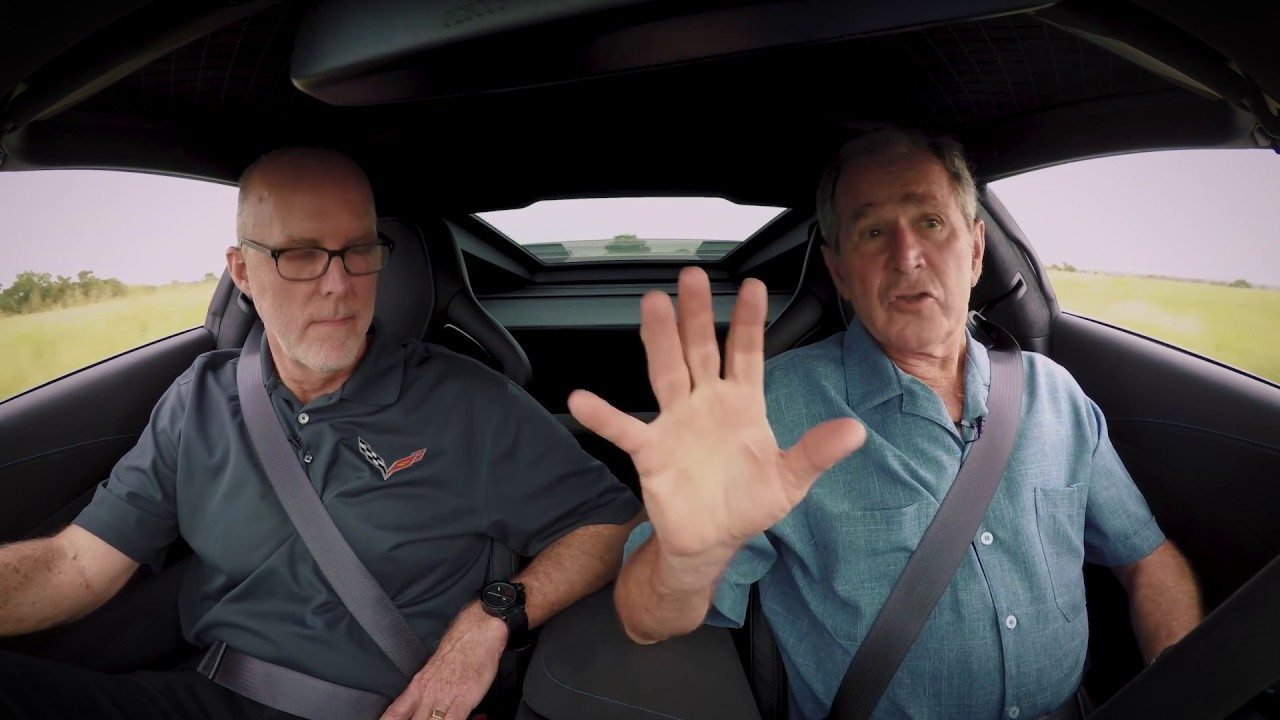 Tom Peters and George Bush in 2018 Carbon 65 Corvette