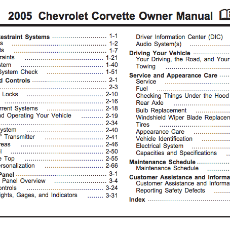 2005 Corvette Owner Manual