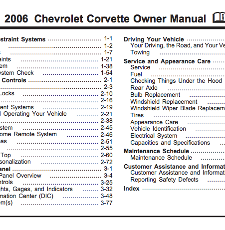 2006 Corvette Owner Manual